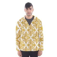 Gold Pattern Wallpaper Fleur Hooded Wind Breaker (men)