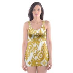 Gold Pattern Wallpaper Fleur Skater Dress Swimsuit