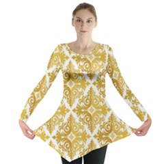 Gold Pattern Wallpaper Fleur Long Sleeve Tunic