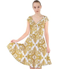 Gold Pattern Wallpaper Fleur Cap Sleeve Front Wrap Midi Dress