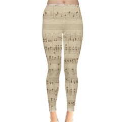 Vintage Beige Music Notes Leggings