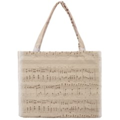 Vintage Beige Music Notes Mini Tote Bag