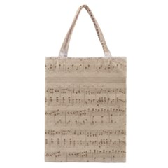 Vintage Beige Music Notes Classic Tote Bag