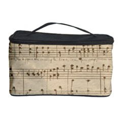Vintage Beige Music Notes Cosmetic Storage Case