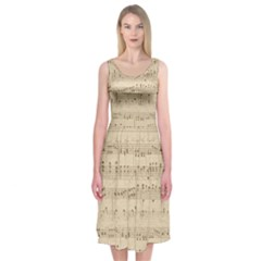 Vintage Beige Music Notes Midi Sleeveless Dress