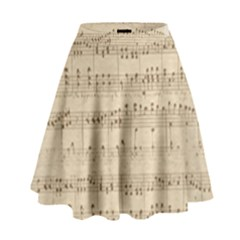 Vintage Beige Music Notes High Waist Skirt