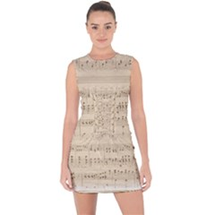 Vintage Beige Music Notes Lace Up Front Bodycon Dress