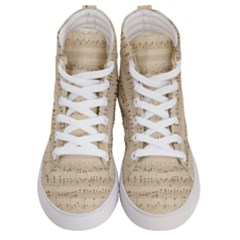 Vintage Beige Music Notes Women s Hi Top Skate Sneakers