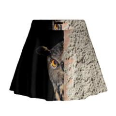 Owl Hiding Peeking Peeping Peek Mini Flare Skirt