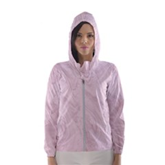 Marble Background Texture Pink Hooded Wind Breaker (women)