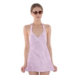 Marble Background Texture Pink Halter Dress Swimsuit