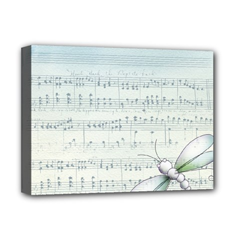 Vintage Blue Music Notes Deluxe Canvas 16  X 12