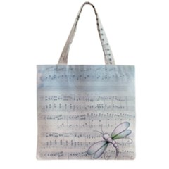 Vintage Blue Music Notes Grocery Tote Bag