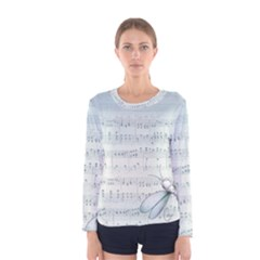 Vintage Blue Music Notes Women s Long Sleeve Tee