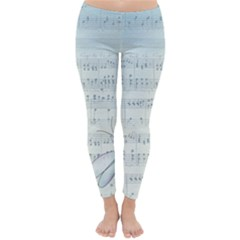 Vintage Blue Music Notes Classic Winter Leggings