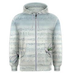Vintage Blue Music Notes Men s Zipper Hoodie