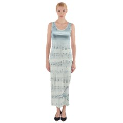 Vintage Blue Music Notes Fitted Maxi Dress