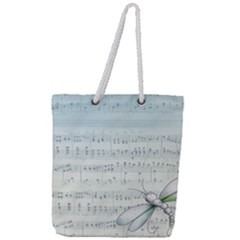Vintage Blue Music Notes Full Print Rope Handle Tote (large)