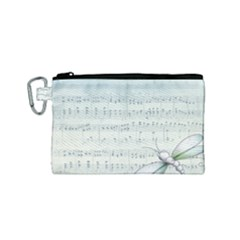 Vintage Blue Music Notes Canvas Cosmetic Bag (small)