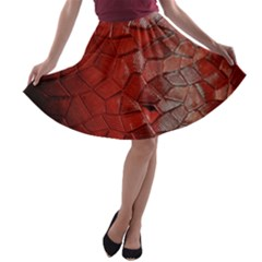 Pattern Backgrounds Abstract Red A Line Skater Skirt