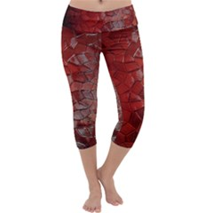 Pattern Backgrounds Abstract Red Capri Yoga Leggings