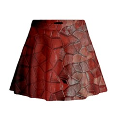 Pattern Backgrounds Abstract Red Mini Flare Skirt