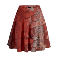 Pattern Backgrounds Abstract Red High Waist Skirt