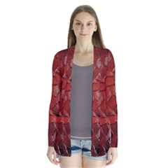 Pattern Backgrounds Abstract Red Drape Collar Cardigan