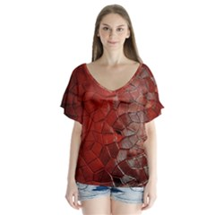 Pattern Backgrounds Abstract Red V Neck Flutter Sleeve Top