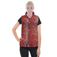 Pattern Backgrounds Abstract Red Women s Button Up Puffer Vest