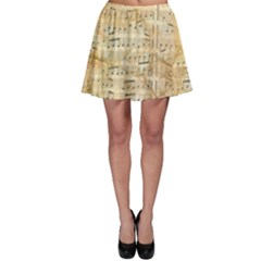 Background Old Parchment Musical Skater Skirt