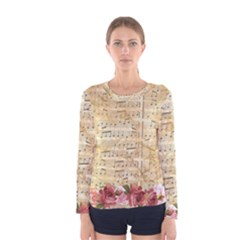 Background Old Parchment Musical Women s Long Sleeve Tee