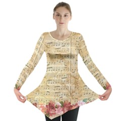 Background Old Parchment Musical Long Sleeve Tunic