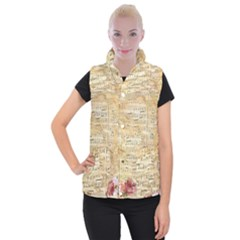 Background Old Parchment Musical Women s Button Up Puffer Vest
