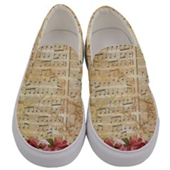 Background Old Parchment Musical Men s Canvas Slip Ons