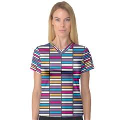 Color Grid 01 V Neck Sport Mesh Tee