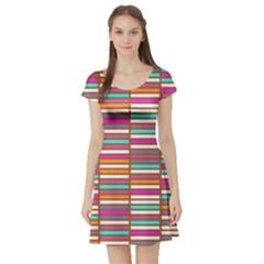 Color Grid 02 Short Sleeve Skater Dress