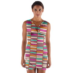 Color Grid 02 Wrap Front Bodycon Dress