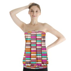Color Grid 02 Strapless Top