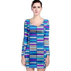 Color Grid 04 Long Sleeve Bodycon Dress