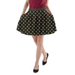Yellow Cross A Line Pocket Skirt