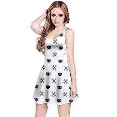 Black Pixel Skull Pirate Reversible Sleeveless Dress