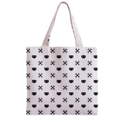 Black Pixel Skull Pirate Zipper Grocery Tote Bag
