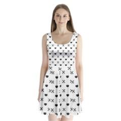 Black Pixel Skull Pirate Split Back Mini Dress