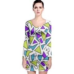Retro Shapes 02 Long Sleeve Bodycon Dress