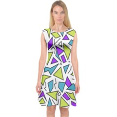 Retro Shapes 02 Capsleeve Midi Dress