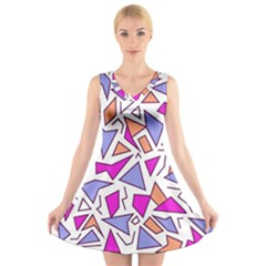 Retro Shapes 03 V Neck Sleeveless Skater Dress