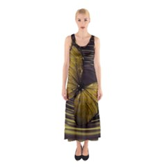 Butterfly Insect Wave Concentric Sleeveless Maxi Dress