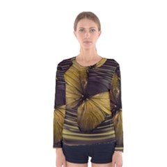 Butterfly Insect Wave Concentric Women s Long Sleeve Tee