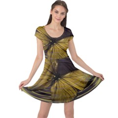 Butterfly Insect Wave Concentric Cap Sleeve Dress